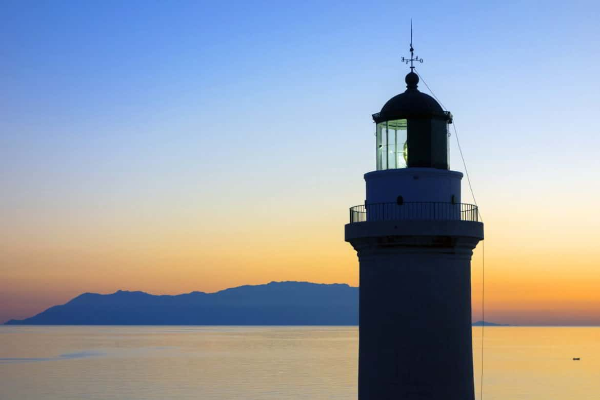 The Lighthouse Of Alexandroupolis At Dusk